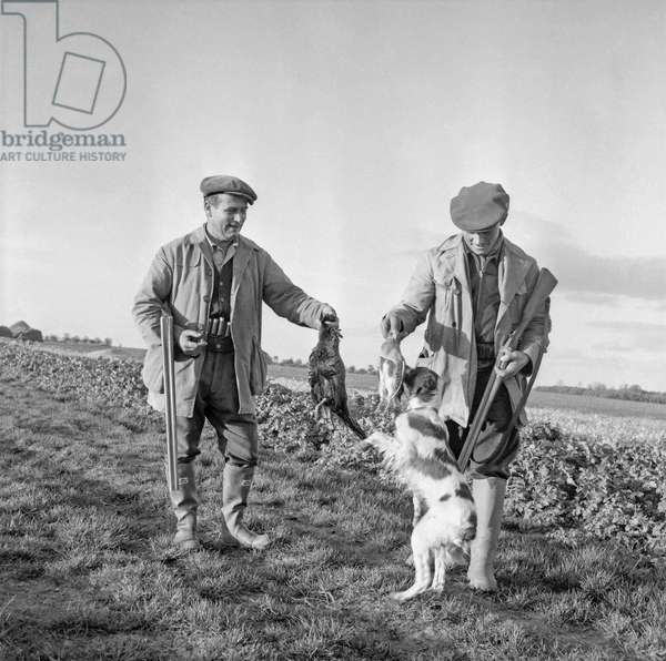 Open season for hunting in France, August 28, 1960 : 2 hunters with dog and game (b/w photo)