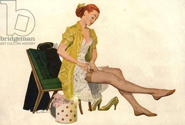 Nylon Stockings Magazine, advert (detail), USA, 1940s