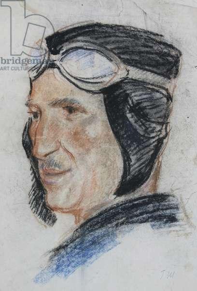 Portrait of Pilot Grigorii M., 1937 (pastel on paper)