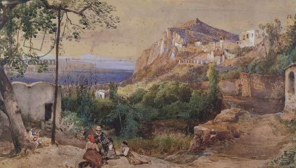 View of Capri, by Giacinto Gigante, watercolour and tempera