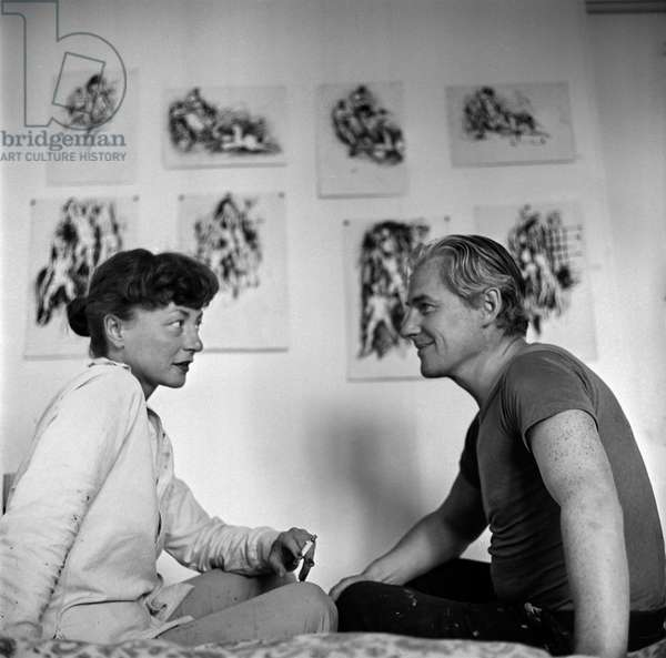 Elaine and Bill De Kooning, 1953 (b/w photo)