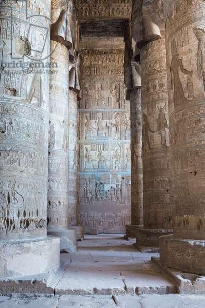 Outer hypostyle hall, temple of Hathor, Dendara, Egypt