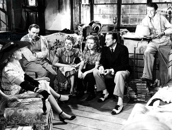 GEORGE WASHINGTON SLEPT HERE, from left, Lee Patrick, Jack Benny,  Ann Sheridan,  Joyce Reynolds, John Emery, William Tracy, 1942
