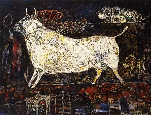 Landscape with Animals, 1957 (oil on panel)