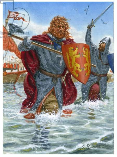 Third Crusade: Richard I of England, known as the Lionheart (1157-1199) assaulting Saint Jean d'Acre (1191) (illustration)