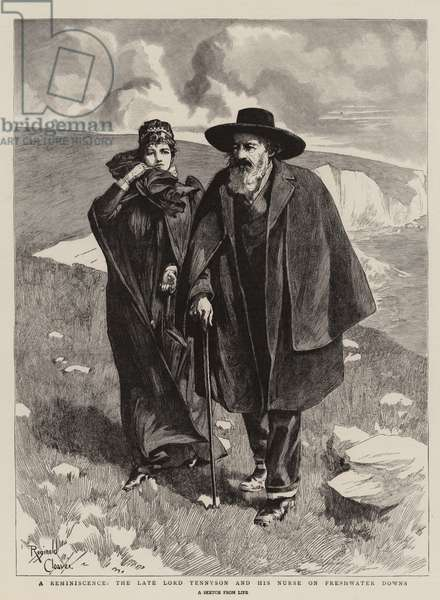 A Reminiscence, the Late Lord Tennyson and his Nurse on Freshwater Downs (engraving)
