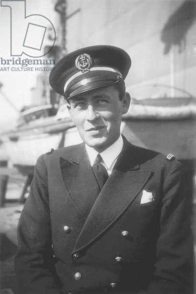 Paul-Emile Victor, aspiring to the battleship Voltaire, Toulon, Bouches-du-Rhône, France, June 1930 (b/w photo)