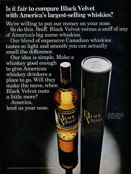 AD: WHISKEY, 1969 American advertisement for Black Velvet Whiskey. Photograph, 1969.