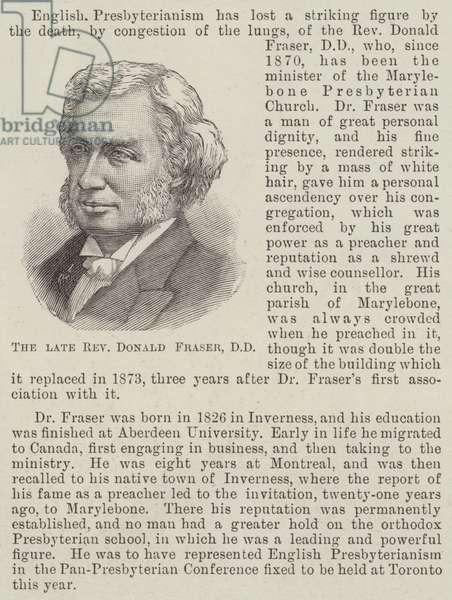 The late Reverend Donald Fraser, DD (engraving)