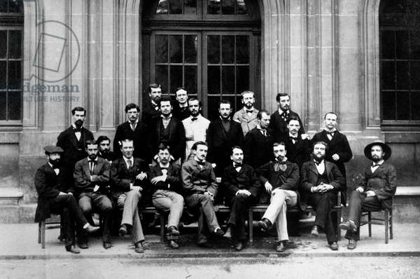 Henri Bergson (1859-1941) French philosopher (1st row seated in c) and Jean Jaures (1st row, seated 2nd from r) here during his studies at high School 1878