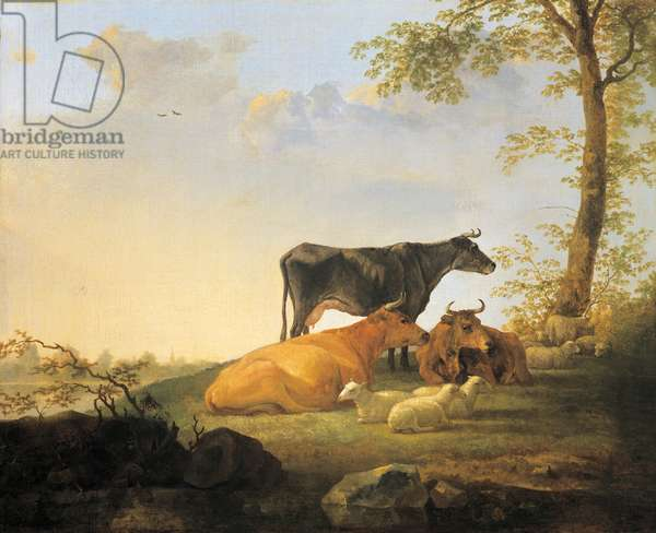 Landscape with cattle, 1650 (oil on canvas)