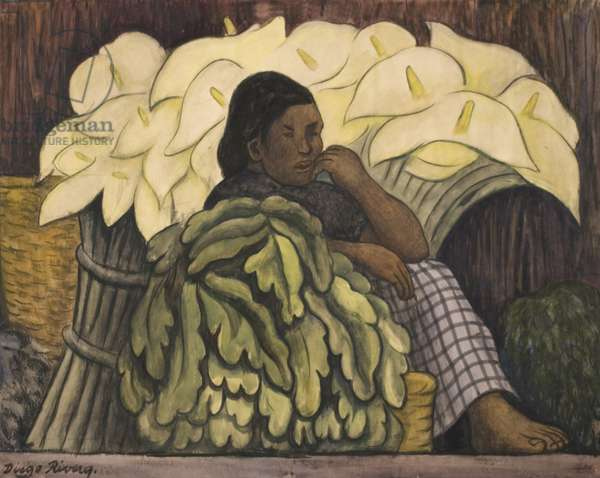 The Lily Vendor, 1935 (charcoal & w/c on paper)