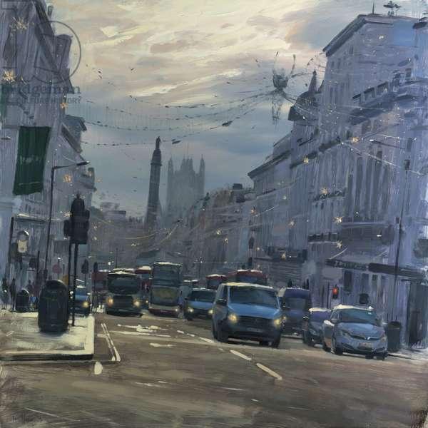 Regent Street St James's with Xmas lights, December, 2018, oil on canvas