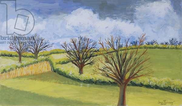 Suffolk Spring Sky (gouache on paper)