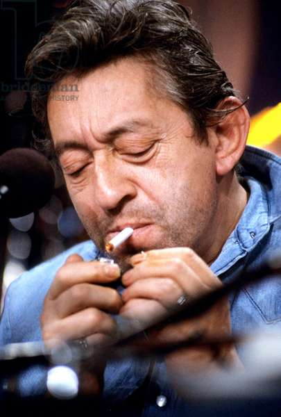 French Singer Serge Gainsbourg during A Radio Program on May 1985 (photo)