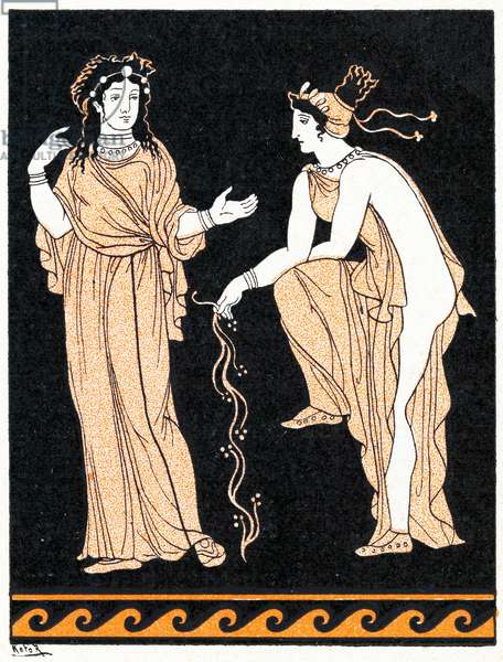 Two women, Illustration from Notor's Lysistrata,  1898 (litho)