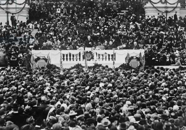 Woodrow Wilson (1856-1924) reading inaugural address in 1913