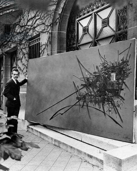 French Painter Georges Mathieu during Exhibition in Paris March 15, 1971 (b/w photo)