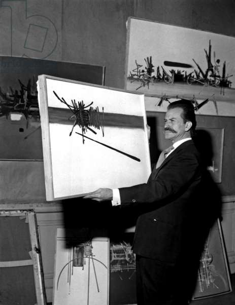 French Painter Georges Mathieu With his Works in 1966 (b/w photo)
