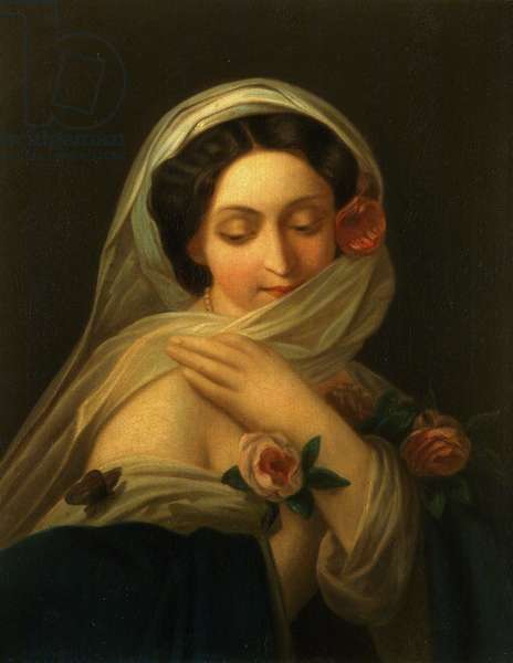 Lady with Roses, date unknown (oil on canvas)