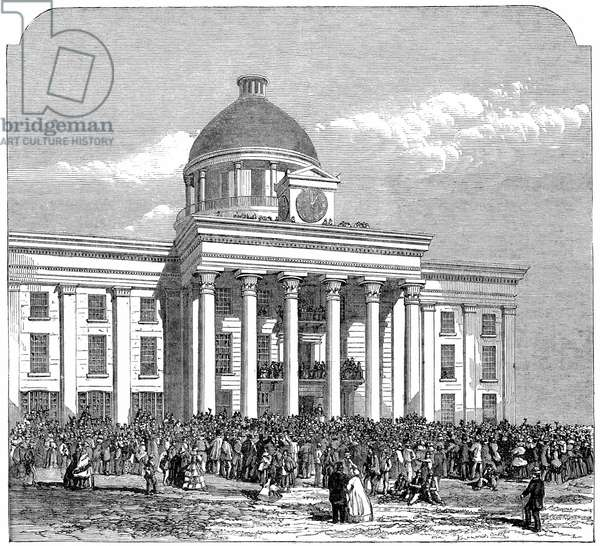 Inauguration of Jefferson Davis (1808-1889) as President of the Confederate (southern) states, Montgomery, Alabama 1861. Wood engraving