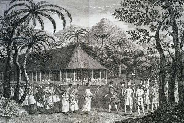 Cession of island of Tahiti to Captain Samuel Wallis, Queen Oberea transferring island to Wallis in typical Tahitian ceremony, engraving by Francois Godefroy (circa 1743-1819), from Cook Atlas, 1784 (second voyage, 1772-1775), Polynesia, 18th century