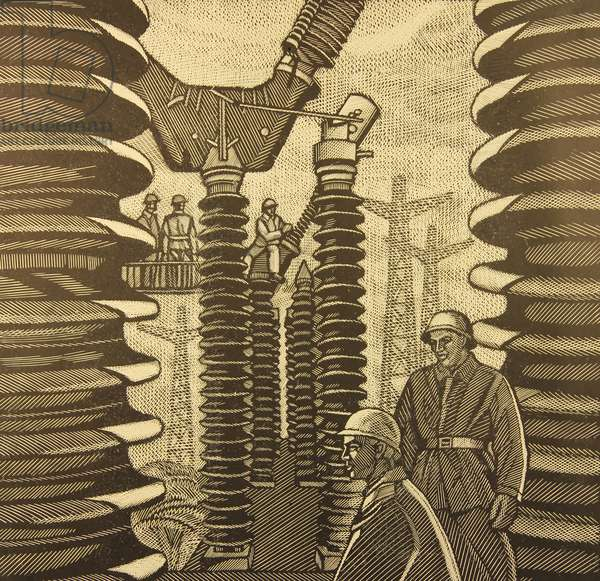 Electrical Power Station, 1979 (linocut)