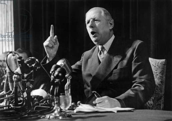 French President Charles De Gaulle during Press Conference, May 13, 1959 (b/w photo)