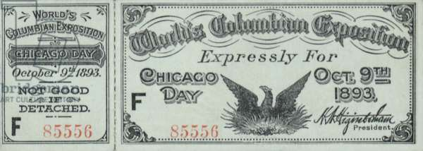 World's Columbian Exposition Admission Ticket (Front)