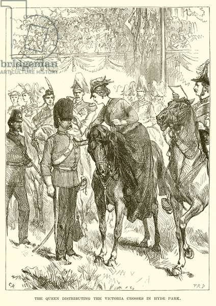 The Queen Distributing the Victoria Crosses in Hyde Park (engraving)