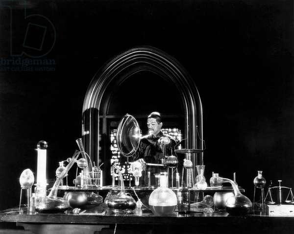 Boris Karloff, on-set of the Film,