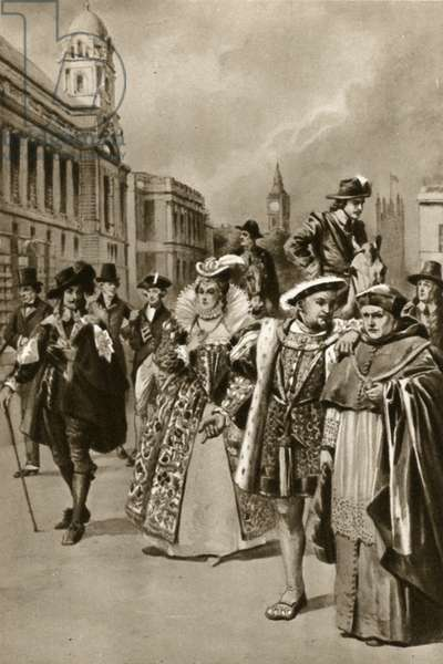 Streets of London: King Charles I, Queen Elizabeth I, King Henry VIII, Cardinal Wolsey (litho)