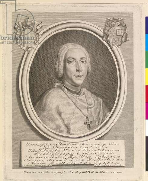 Henry Benedict Stuart, Cardinal Duke of York, by Pier Antonio Pazzi c.1747-48 (engraving)