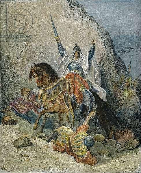 SALADIN (1138-1193) Saladin victorious in battle. Line engraving after Gustave Doré.