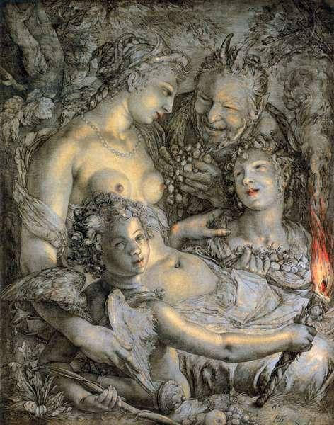 Sine Cerere et Libero friget Venus (Without Ceres and Bacchus, Venus Would Freeze), c.1600-03 (ink & oil on canvas)