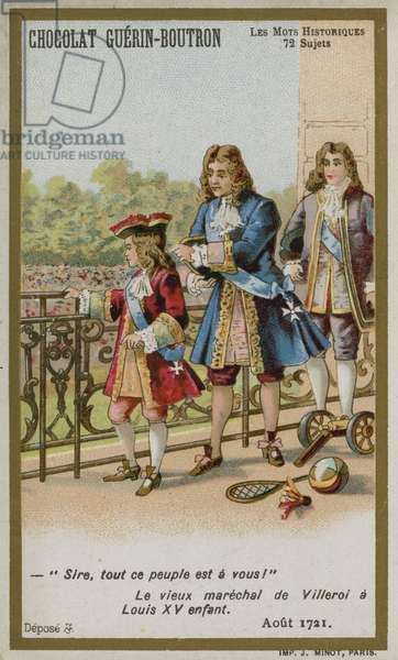 Chocolat Guerin-Boutron trade card, Historic Words series (chromolitho)