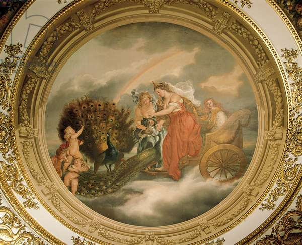 Juno in her chariot attended by two peacocks, Ceiling of the Elizabeth Saloon (fresco)