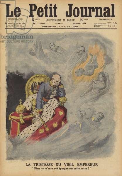 The sorrow of Emperor Franz Joseph I of Austria (colour litho)