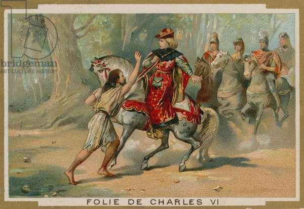 The madness of King Charles VI of France, 1392 (chromolitho)
