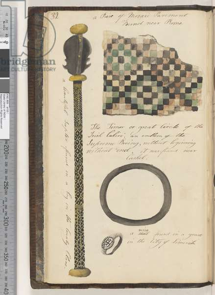 Page 32. A beautiful scepter found in a bog; a Piece of Mosaic Pavement found near Rome; the Timor (?) or Great Circle of the Irish Cabiri; a seal ring found in a grave in the city of Limerick, 1810-17 (w/c & manuscript text)