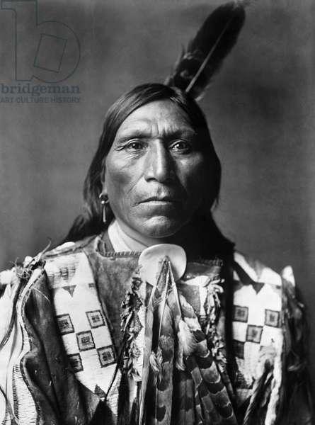 SIOUX MAN, c.1907 Little Hawk, a Brulé Sioux Native American man. Photographed by Edward S. Curtis, c.1907.