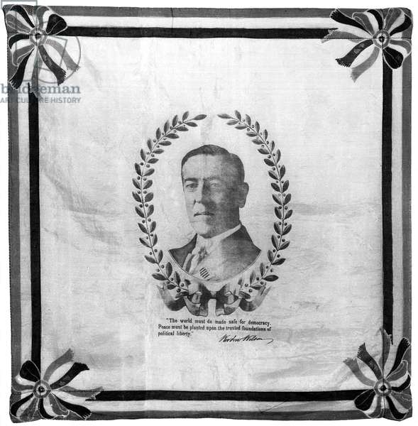 WOODROW WILSON BANDANA Bandana printed with the face of Woodrow Wilson, the 28th President of the United States, 1916.
