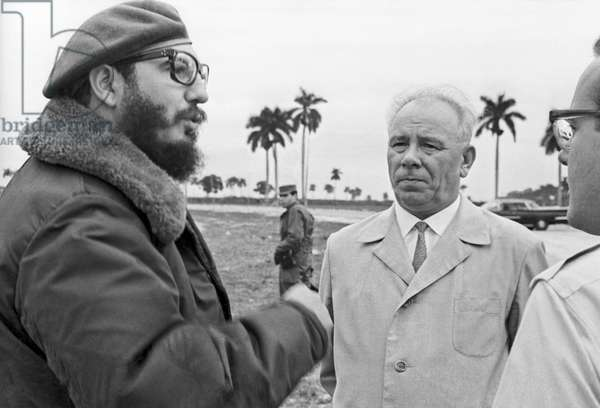 Fidel Castro And Nikolai Podgorny During A Talk In Havana