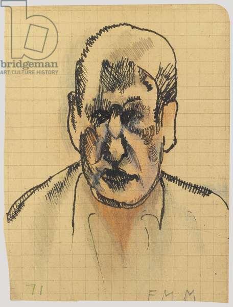 Self-portrait, 1971 (ink on grid paper)