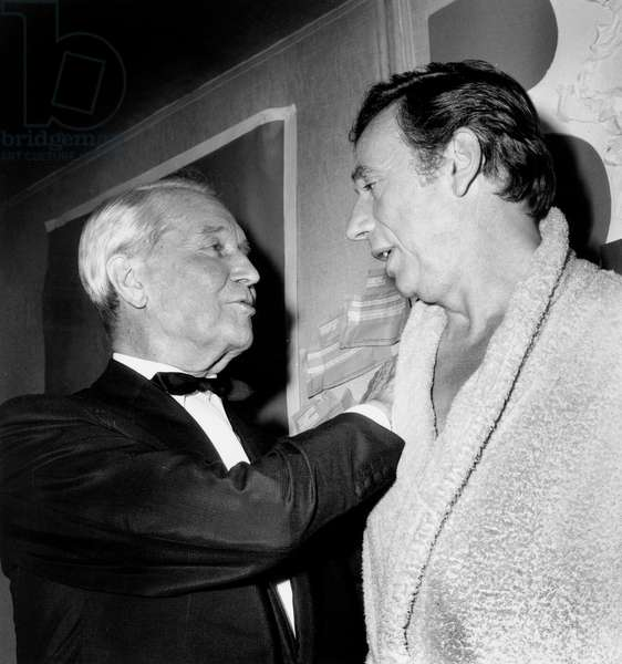 Maurice Chevalier Congratulating Yves Montand After his Show at Olympia September 20, 1968 (b/w photo)