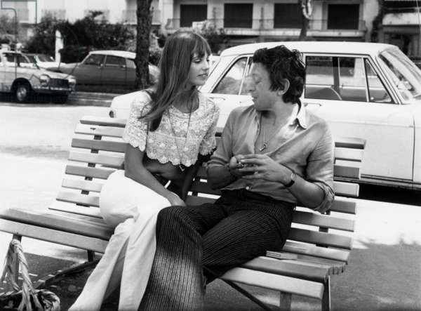 Jane Birkin and Serge Gainsbourg in Cannes on May 19, 1969 (b/w photo)