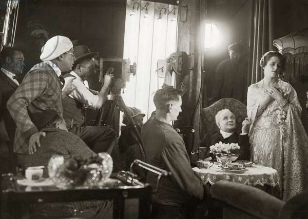 Filming a silent UFA movie, 1920 (b/w photo)