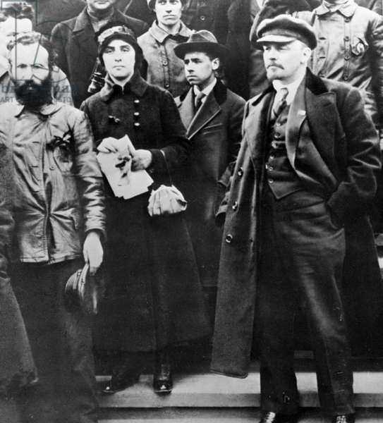 Lenin at a demonstration on May 1, 1919 (b/w photo)