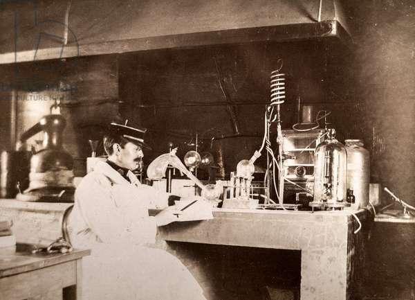 Military Scientist at Lab Table, c.1900 (postcard)