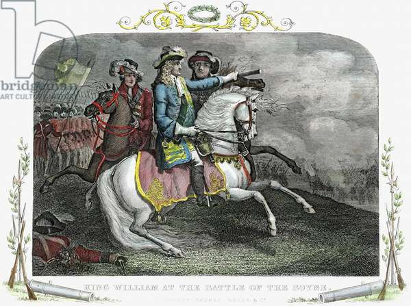William III (1650-1702) King of Great Britain and Ireland from 1689. William at the Battle of the Boyne (1690) where he defeated supporters of the deposed James II. Hand-coloured engraving.